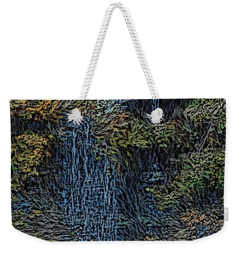 Digital Photography Weekender Tote Bag featuring the photograph Falls Woodcut by David Lane
