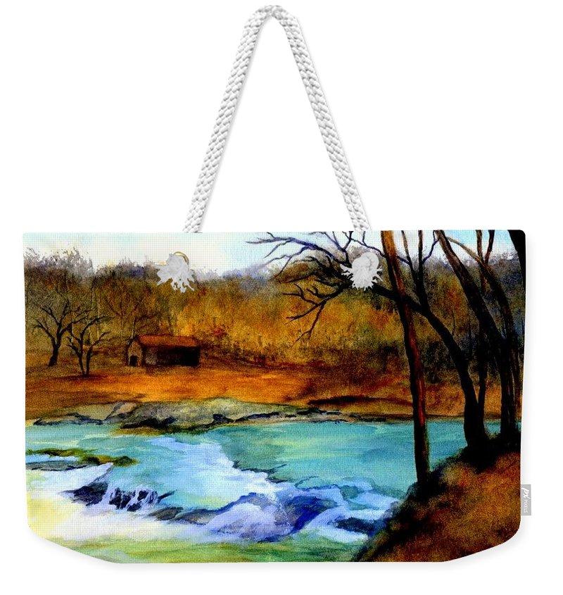 Waterfall Weekender Tote Bag featuring the painting Fallsburg Ky Falls by Gail Kirtz