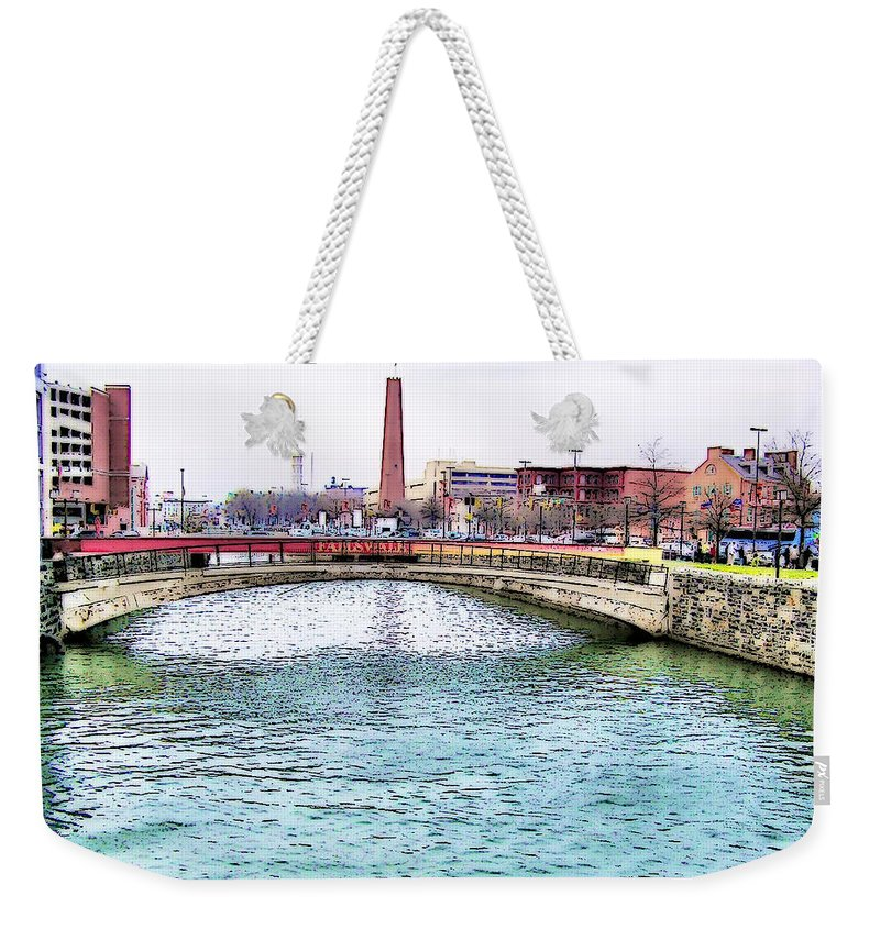 2d Weekender Tote Bag featuring the photograph Fallswalk And Shot Tower by Brian Wallace