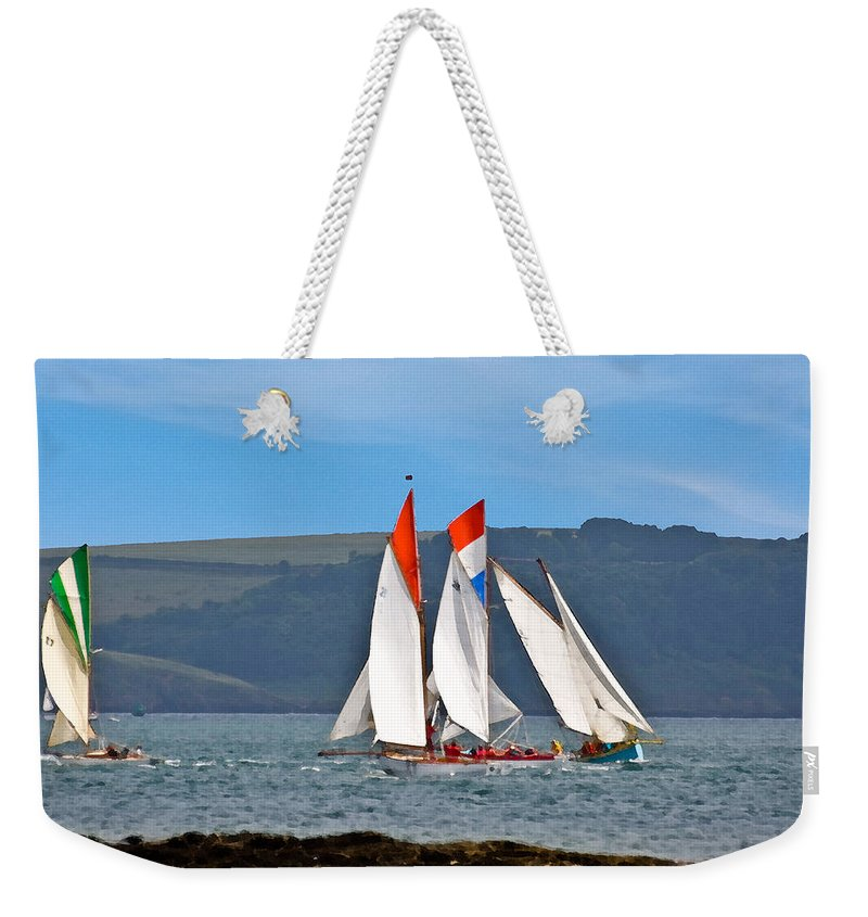 Sailing Boats Weekender Tote Bag featuring the mixed media Falmouth Reggatta by Brian Roscorla