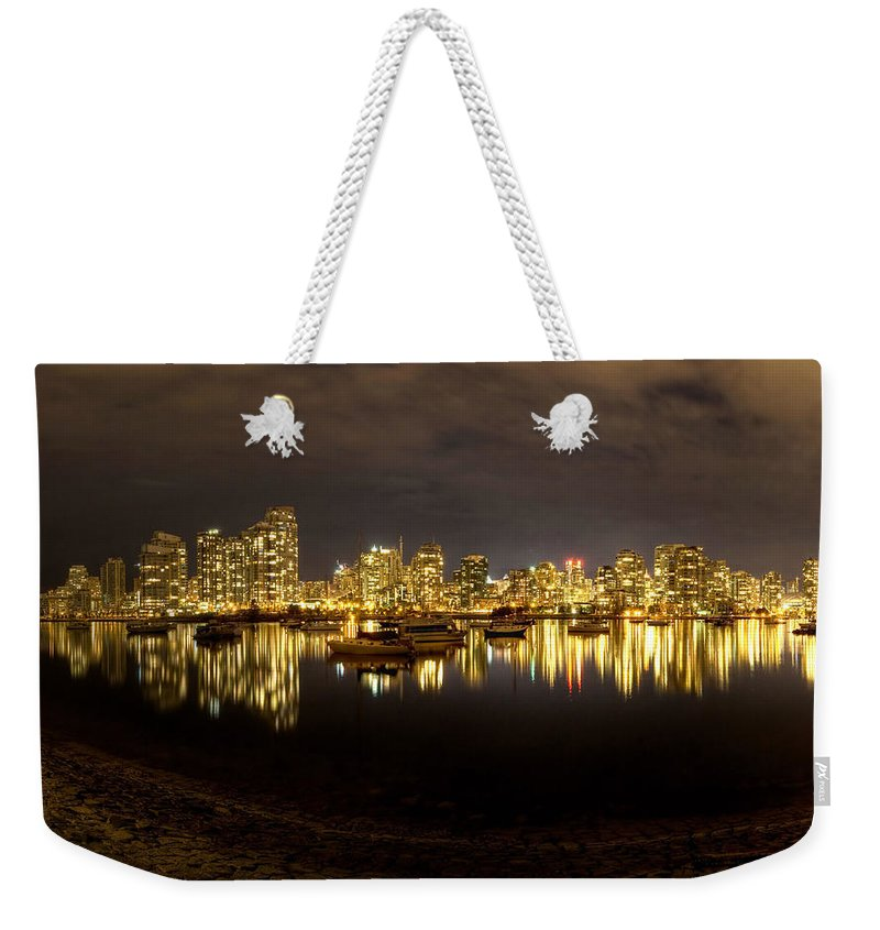 False Creek At Night Weekender Tote Bag featuring the digital art False Creek At Night by Mery Moon