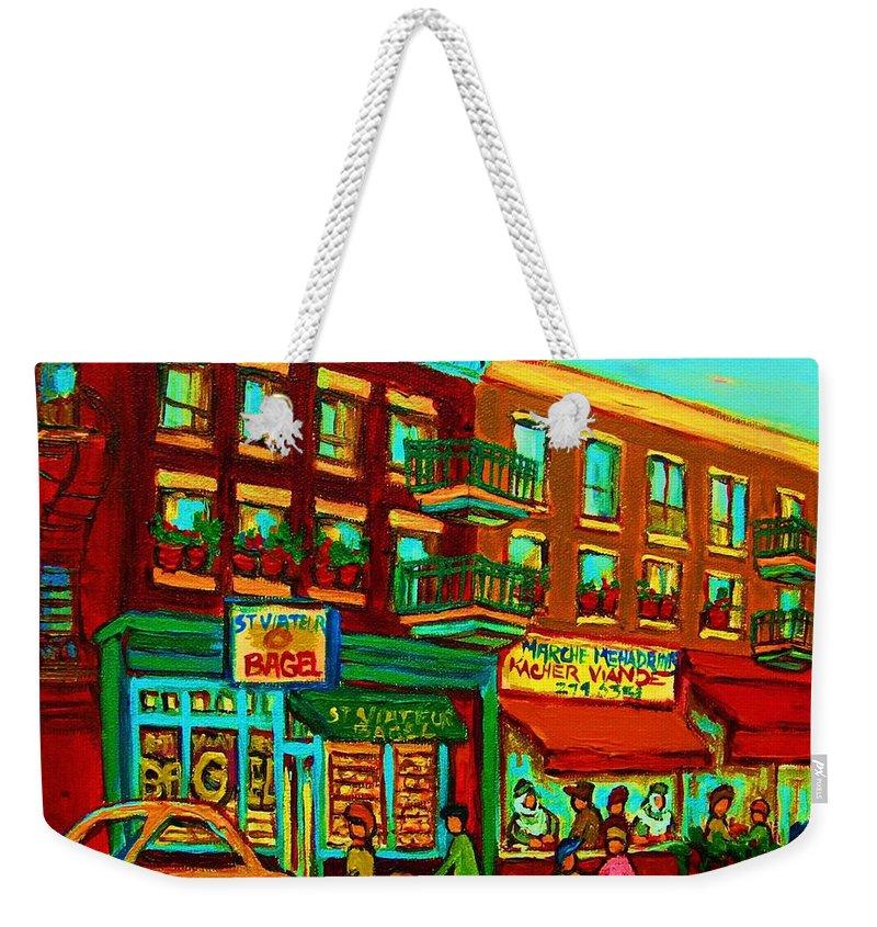 St Viateur Bagel Shop Montreal Street Scenes Weekender Tote Bag featuring the painting Family Frolic On St.viateur Street by Carole Spandau