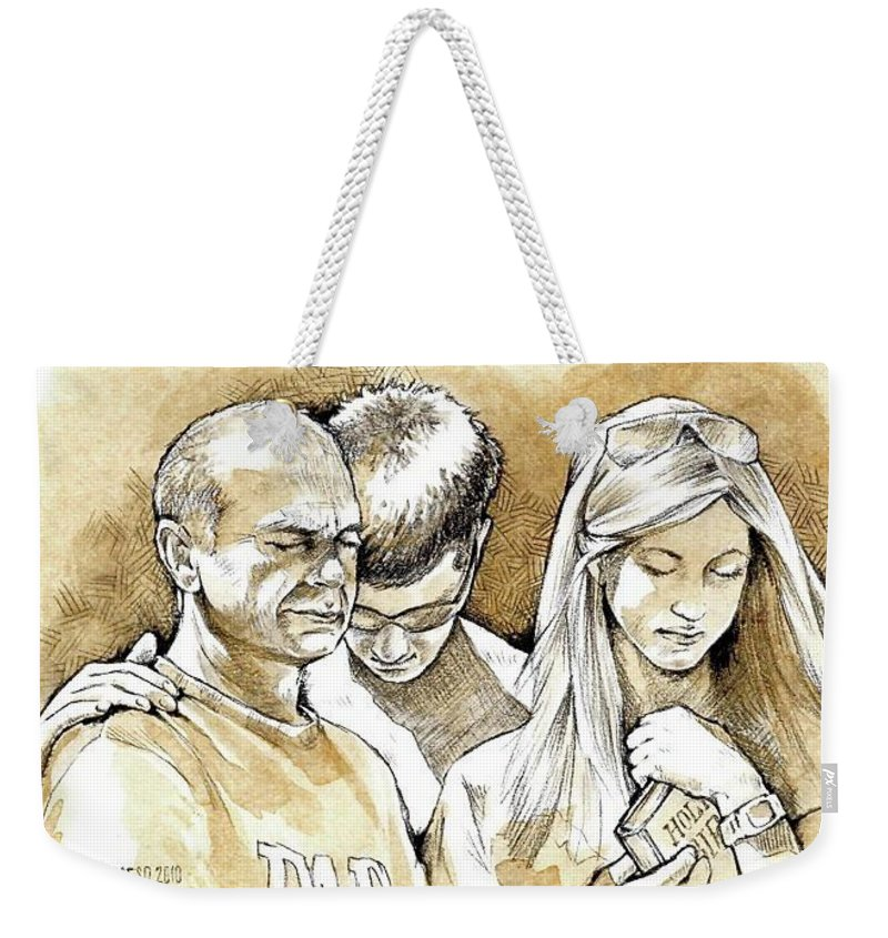 Coffee Pencil Weekender Tote Bag featuring the mixed media Family by Kurt Hafso