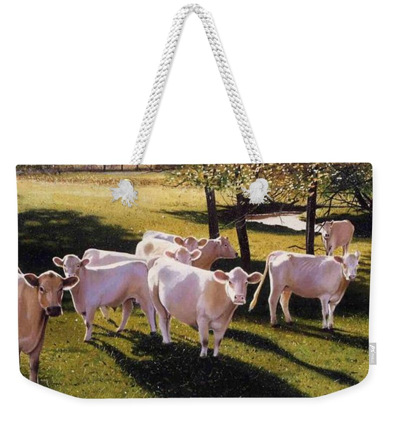 Landscape Weekender Tote Bag featuring the painting Family Portrait by Denny Bond