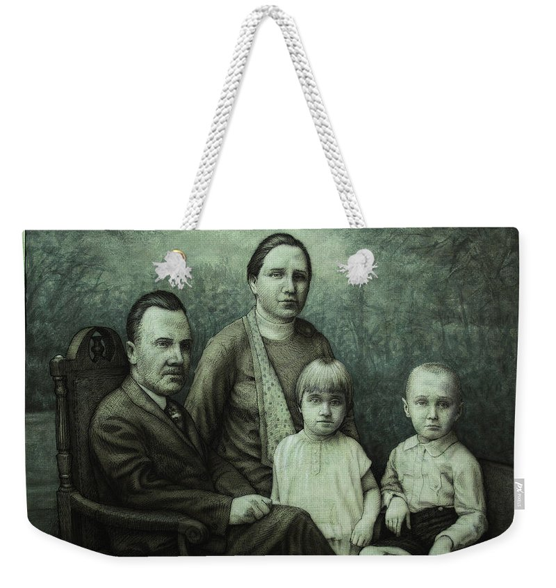 Vintage Weekender Tote Bag featuring the painting Family Portrait by James W Johnson