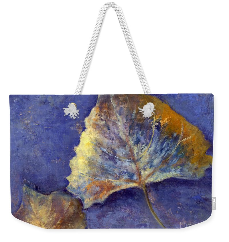 Leaves Weekender Tote Bag featuring the painting Fanciful Leaves by Chris Neil Smith