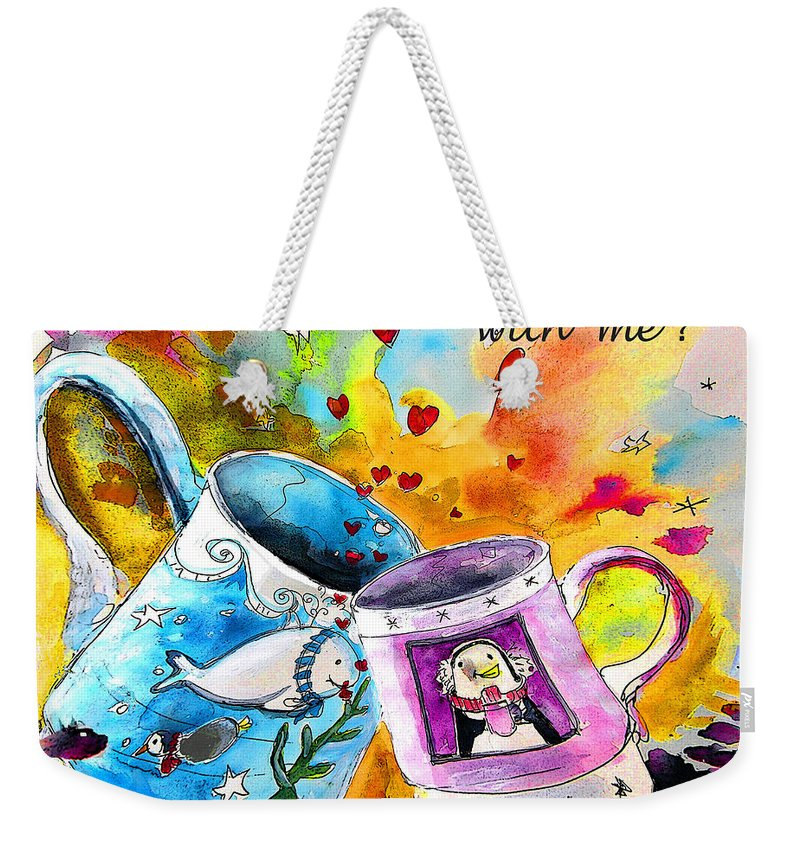 Cafe Crem Weekender Tote Bag featuring the painting Fancy A Coffee by Miki De Goodaboom