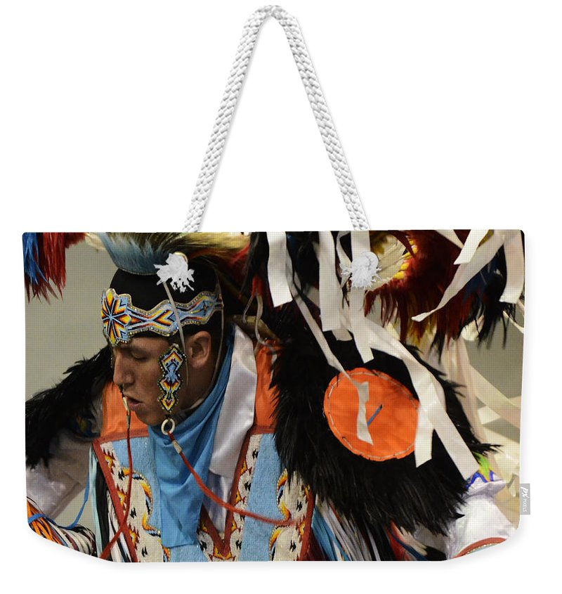 Pow Wow Weekender Tote Bag featuring the photograph Pow Wow Fancy Dancer 1 by Bob Christopher
