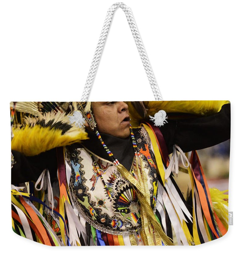 Pow Wow Weekender Tote Bag featuring the photograph Pow Wow Fancy Dancer 2 by Bob Christopher