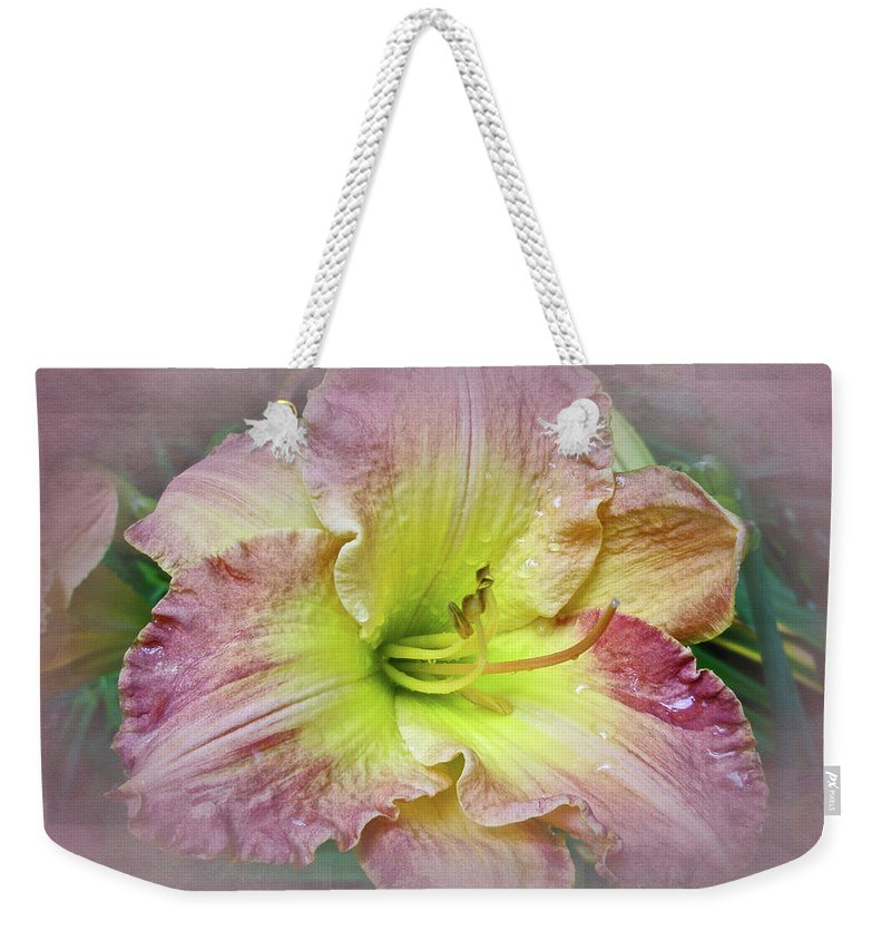 Lily Weekender Tote Bag featuring the photograph Fancy Daylily In Pink And Yellow by Mother Nature