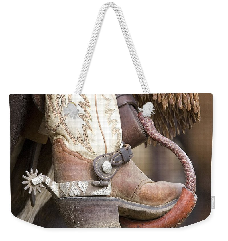 Cowboy Weekender Tote Bag featuring the photograph Fancy Foot by Carol Walker