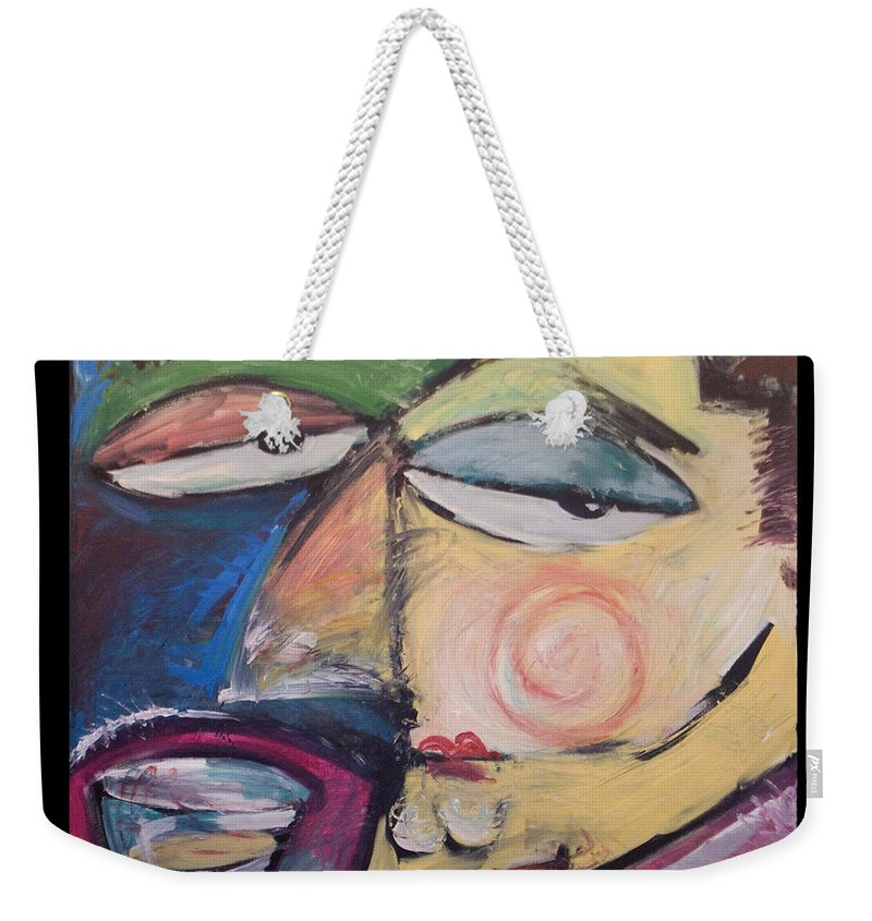 Humor Weekender Tote Bag featuring the painting Fancy Man At Art Opening by Tim Nyberg