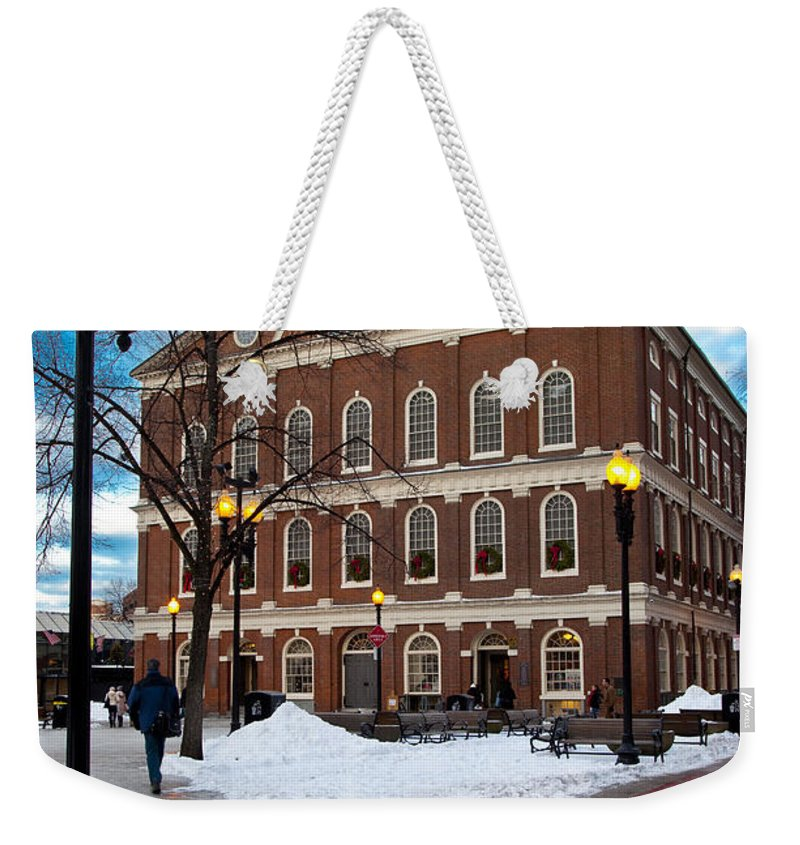 Faneuil Weekender Tote Bag featuring the photograph Faneuil Hall Winter by Brian Jannsen