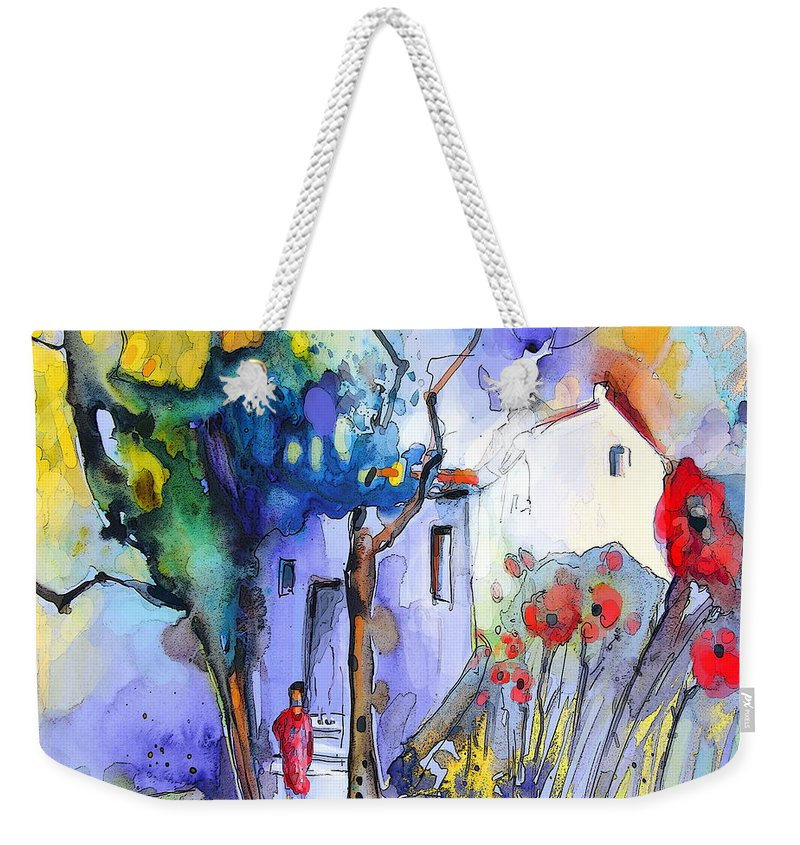 Nature Painting Weekender Tote Bag featuring the painting Fantaquarelle 05 by Miki De Goodaboom