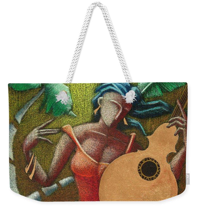 Puerto Rico Weekender Tote Bag featuring the painting Fantasia Boricua by Oscar Ortiz