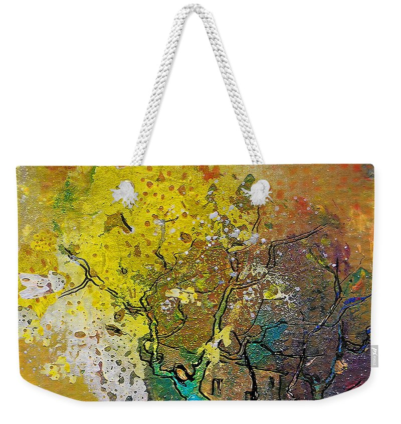 Miki Weekender Tote Bag featuring the painting Fantaspray 13 1 by Miki De Goodaboom