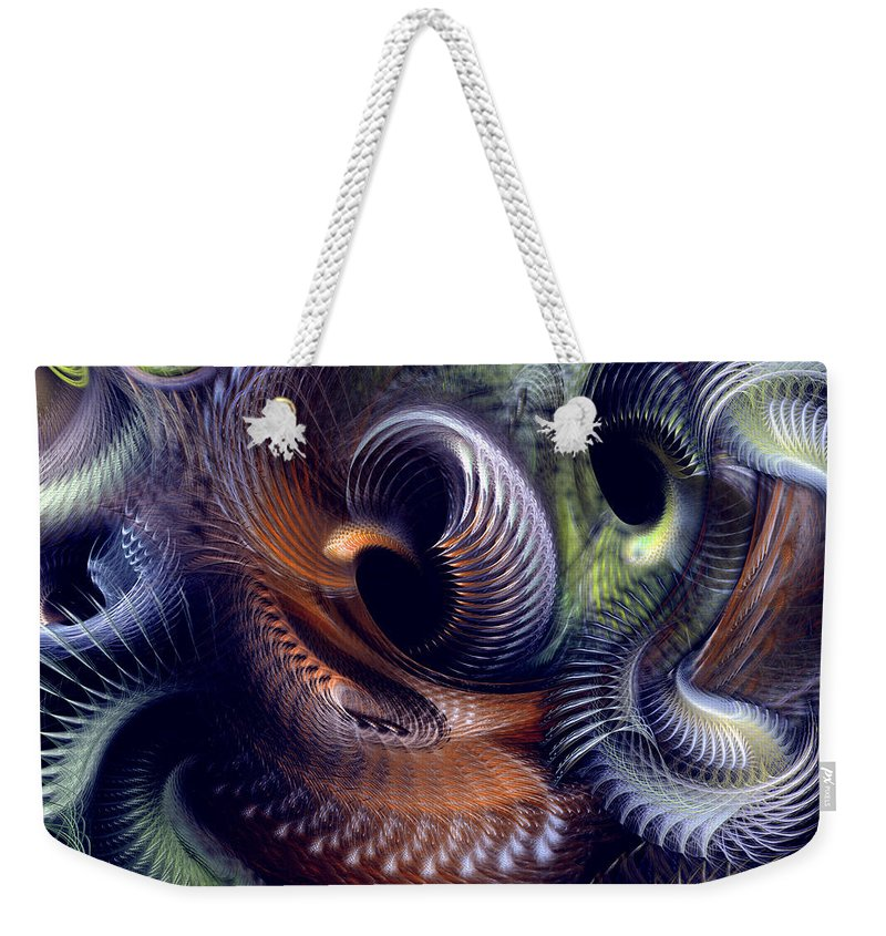 Abstract Weekender Tote Bag featuring the digital art Fantastique by Casey Kotas