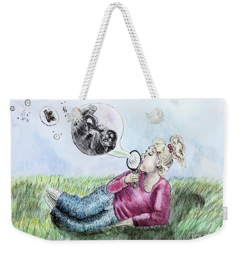 Fantasy Weekender Tote Bag featuring the drawing Fantasy Bubbles by Cecille Gagne