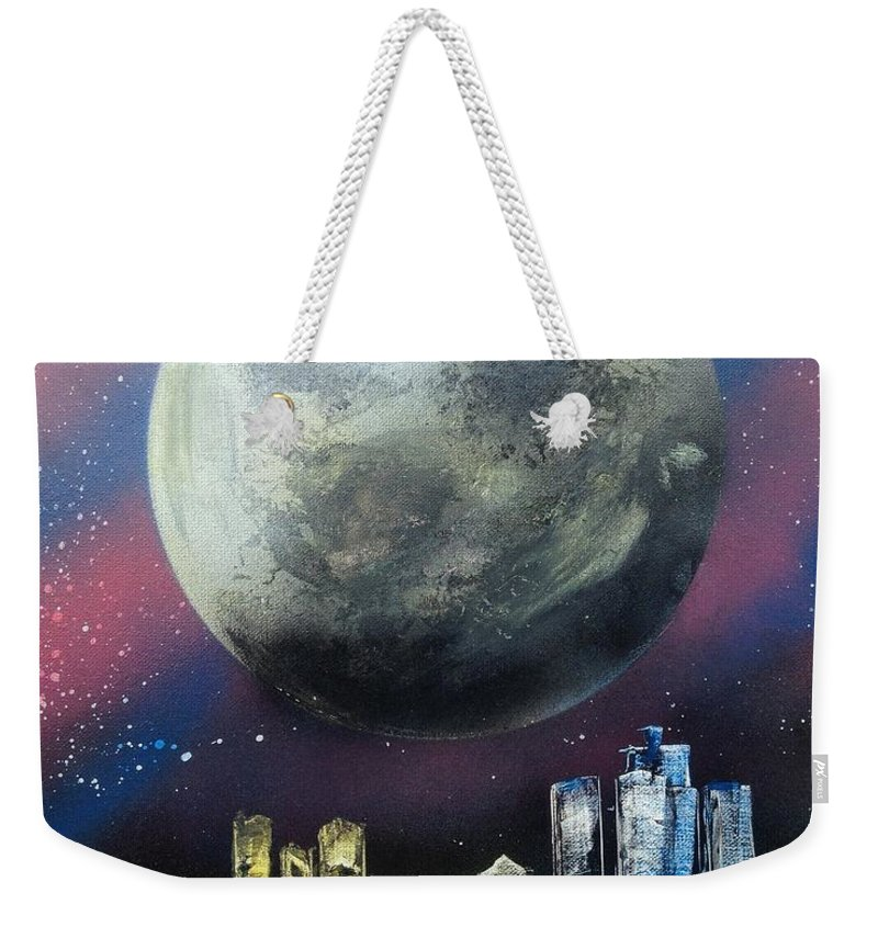 Landscape Weekender Tote Bag featuring the painting Fantasy Detroit by Tyler Haddox