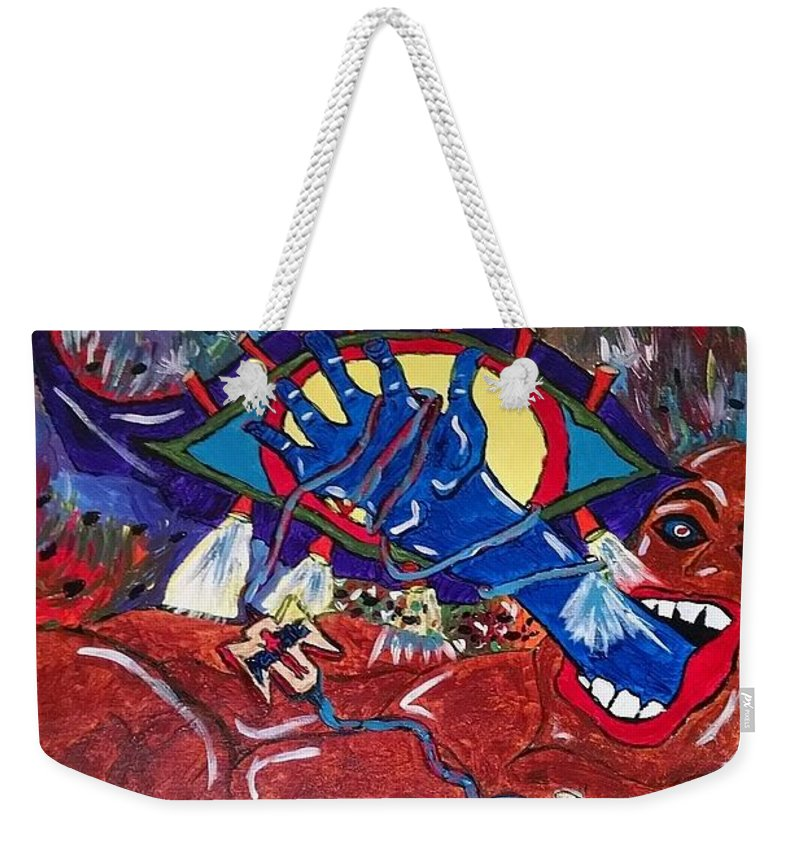 Surrealism Weekender Tote Bag featuring the painting Fantasy by Elena Dyas