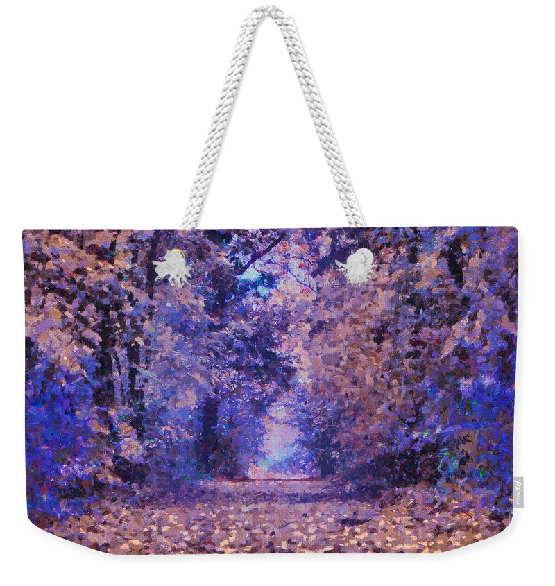 Fantasy Forest Weekender Tote Bag featuring the mixed media Fantasy Forest by Georgiana Romanovna