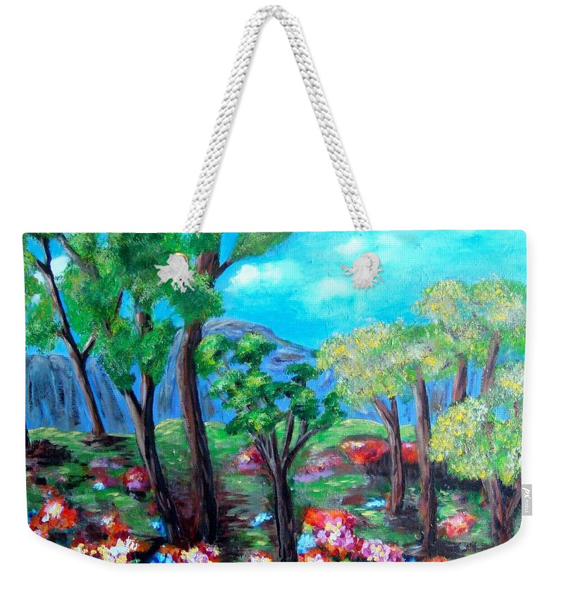 Fantasy Weekender Tote Bag featuring the painting Fantasy Forest by Laurie Morgan