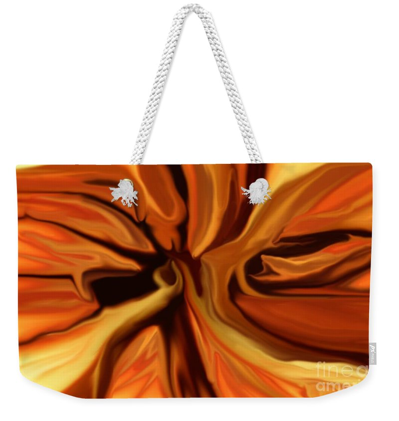 Abstract Weekender Tote Bag featuring the digital art Fantasy In Orange by David Lane