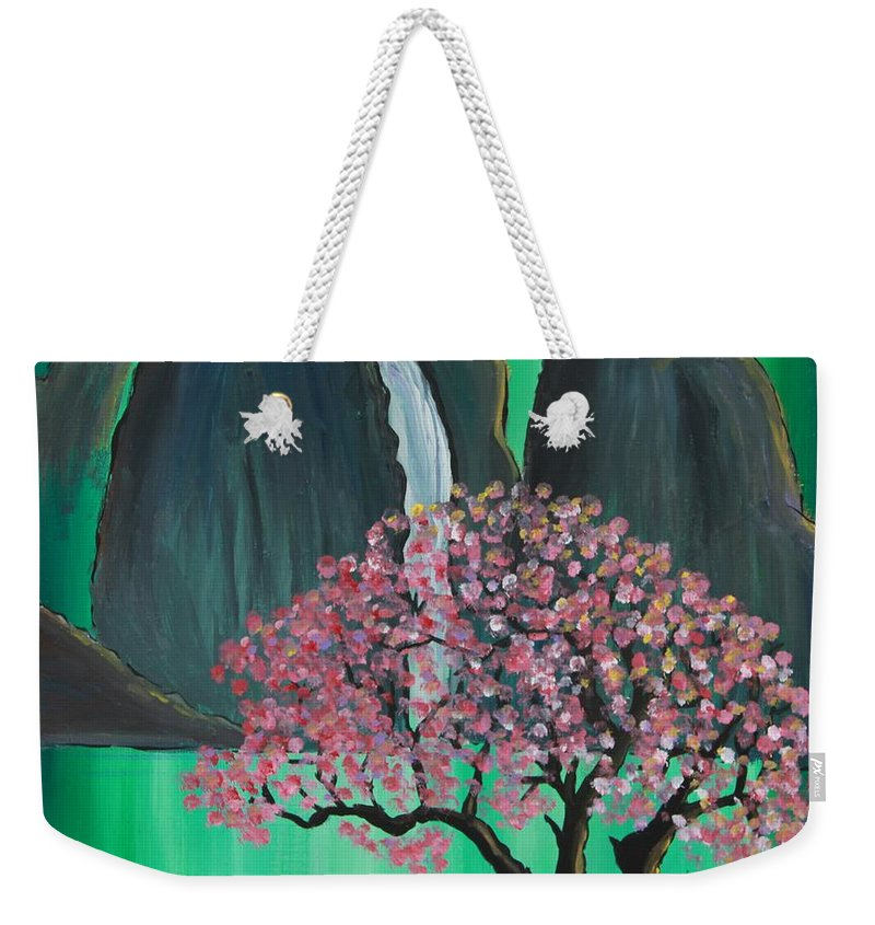 Japan Weekender Tote Bag featuring the painting Fantasy Japan by Jacqueline Athmann