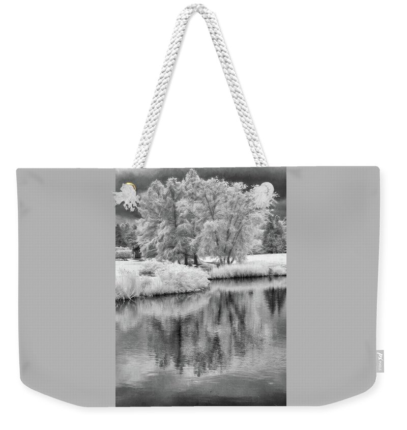 Cox Arboretum Weekender Tote Bag featuring the photograph Fantasy Tree Reflection by Jim Simpson