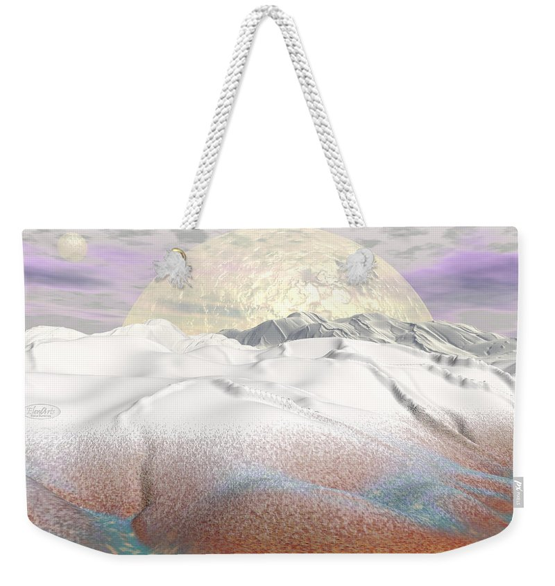Alien Weekender Tote Bag featuring the digital art Fantasy Winter Landscape - 3d Render by Elenarts - Elena Duvernay Digital Art