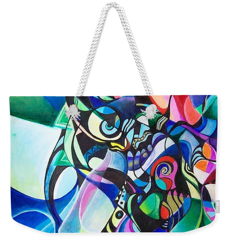 Ab Stract Acrylic Painting Pen Gel Ink Color Paper Weekender Tote Bag featuring the painting Fantasy by Wolfgang Schweizer