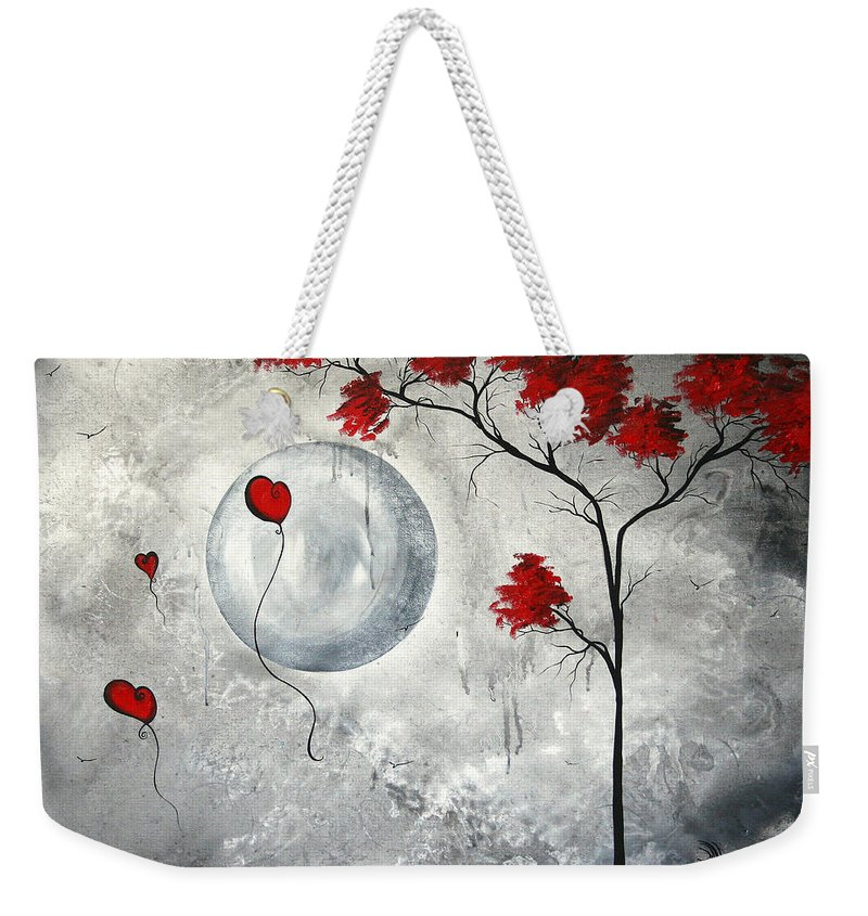 Abstract Weekender Tote Bag featuring the painting Far Side Of The Moon By Madart by Megan Duncanson