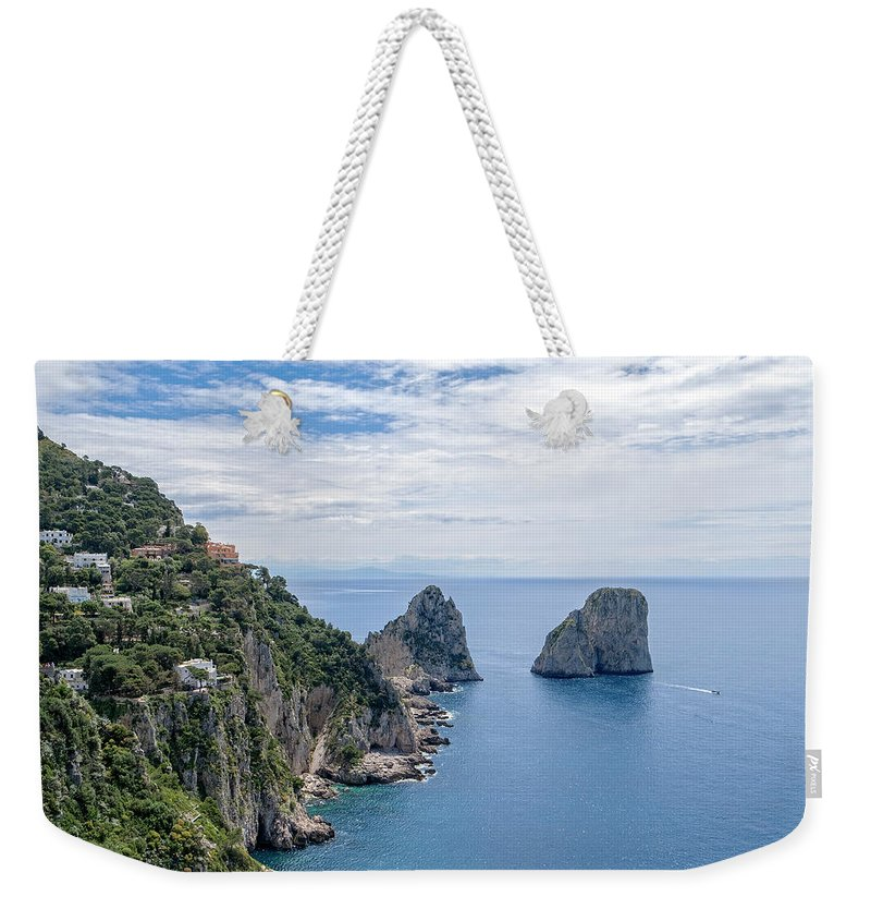 Faraglioni Weekender Tote Bag featuring the photograph Faraglioni Rocks by Catherine Reading