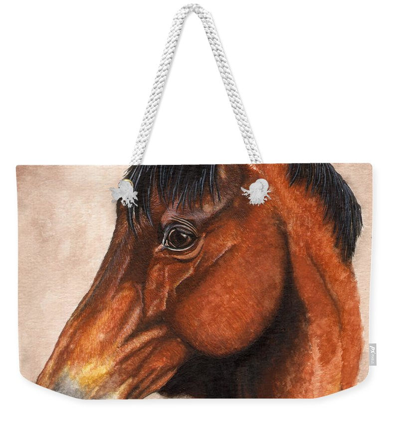 Horse Weekender Tote Bag featuring the painting Farley by Kristen Wesch