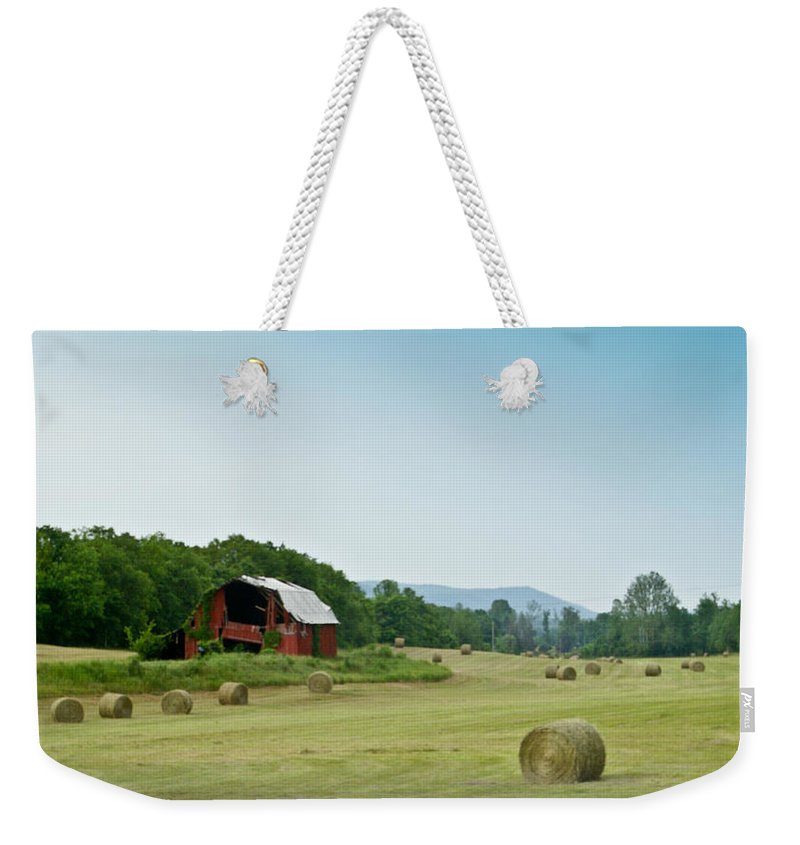 Farm Weekender Tote Bag featuring the photograph Farm Barn Listing by Douglas Barnett