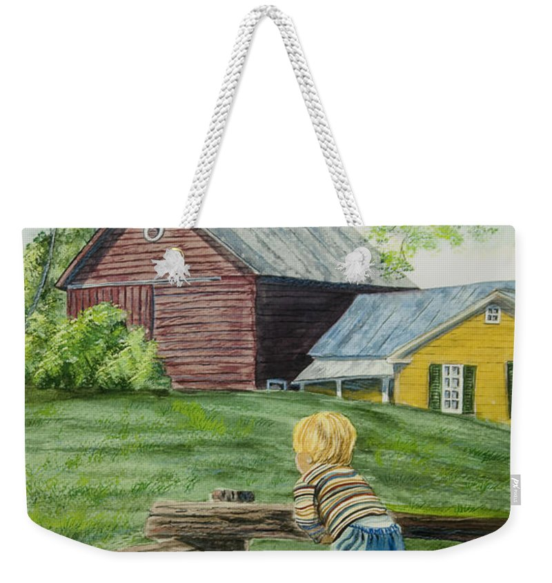 Country Kids Art Weekender Tote Bag featuring the painting Farm Boy by Charlotte Blanchard