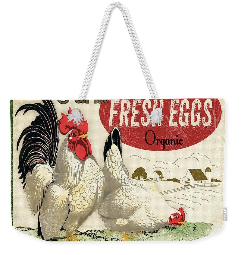 Farm Weekender Tote Bag featuring the digital art Farm Fresh Eggs-b by Jean Plout