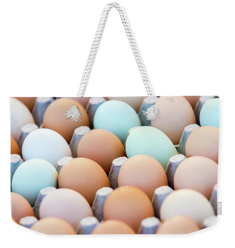 Farmers Market Weekender Tote Bag featuring the photograph Farm Fresh Eggs by Todd Klassy