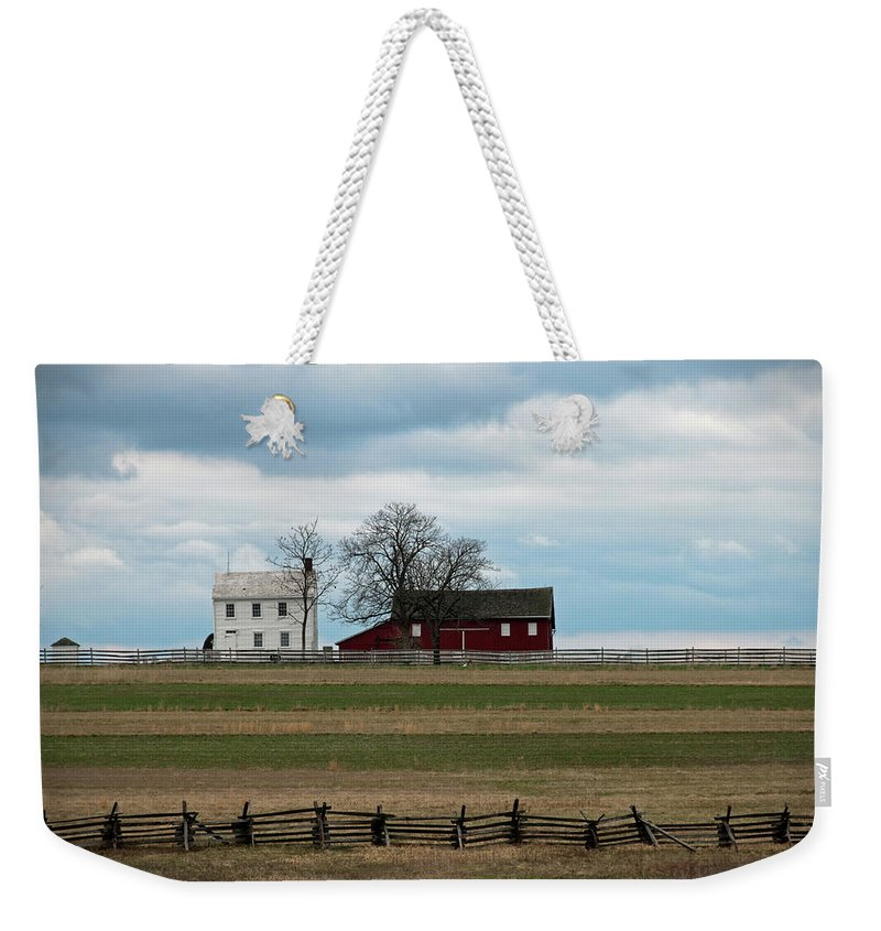 Farm House Weekender Tote Bag featuring the photograph Farm House And Barn by David Arment