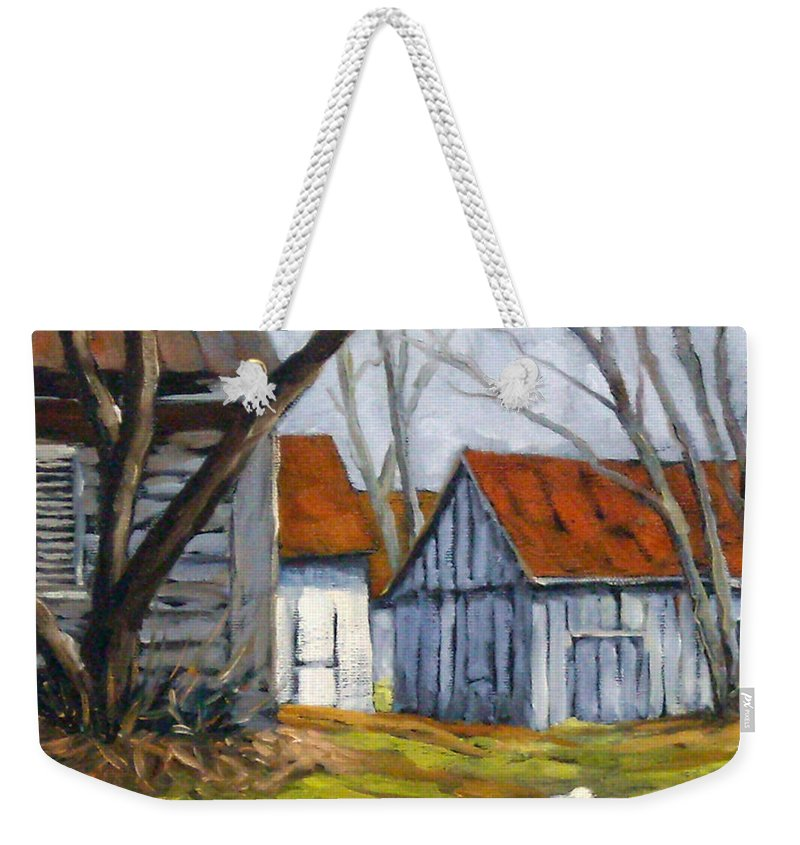 Farm Weekender Tote Bag featuring the painting Farm In Berthierville by Richard T Pranke