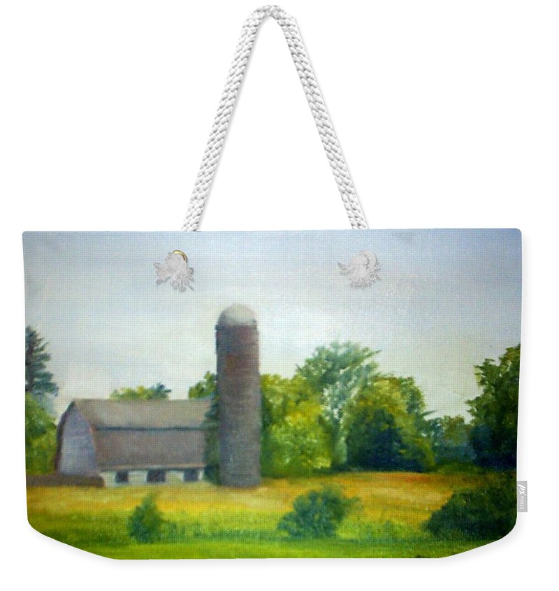 Farm Weekender Tote Bag featuring the painting Farm In The Pine Barrens by Sheila Mashaw