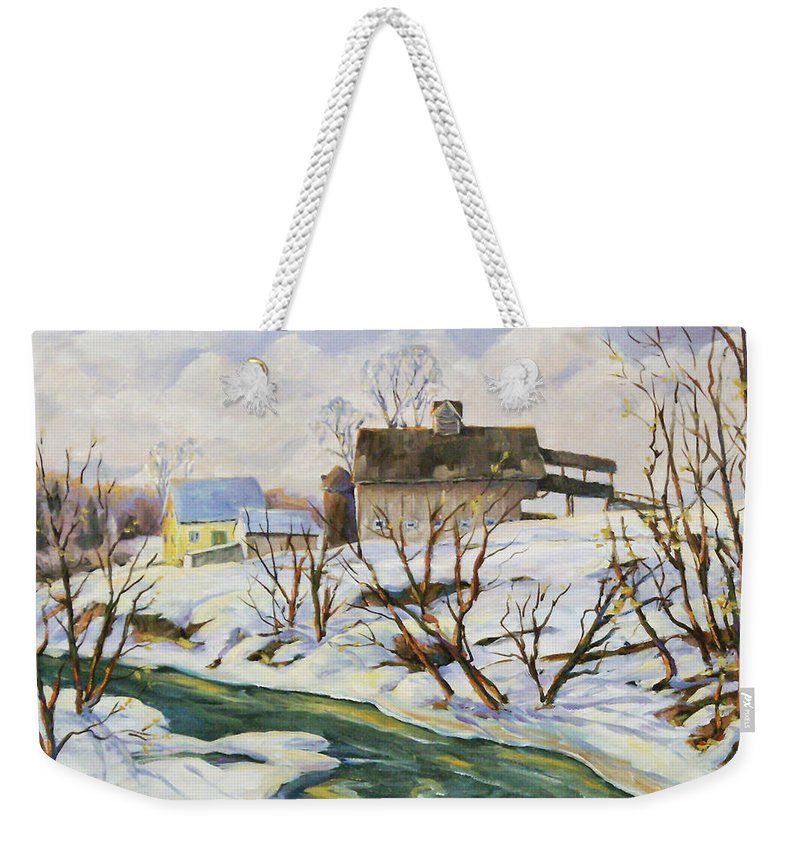 Farm Weekender Tote Bag featuring the painting Farm In Winter by Richard T Pranke