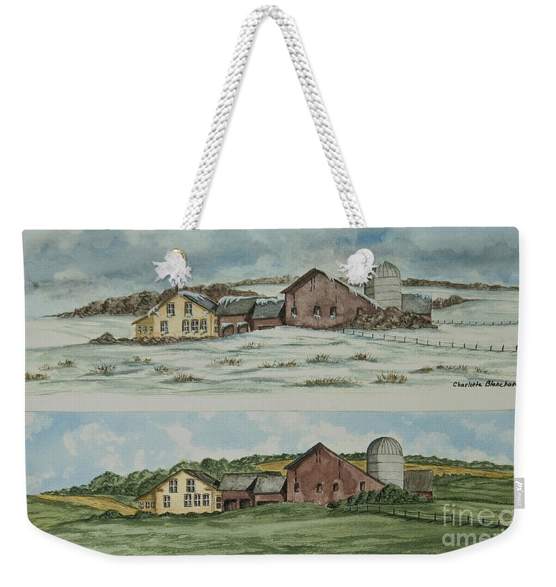 Winter Weekender Tote Bag featuring the painting Farm Of Seasons by Charlotte Blanchard