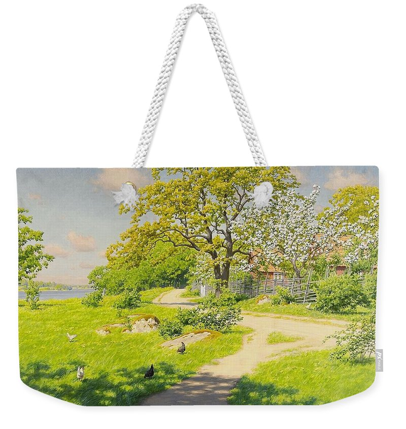 Johan Krouthén 1858-1932 Farm Scene With Pecking Chickens Weekender Tote Bag featuring the painting Farm Scene With Pecking Chickens by MotionAge Designs