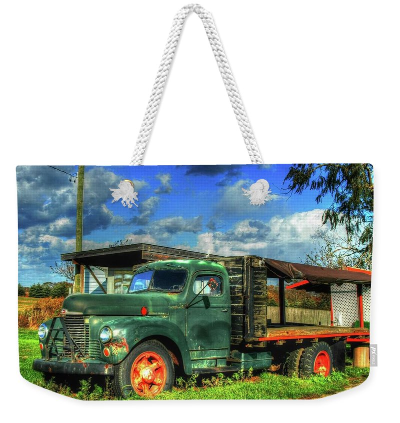 Farm Stand Weekender Tote Bag featuring the photograph Farm Stand Truck by Terry McCarrick