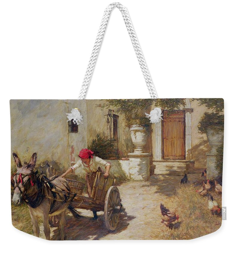 Farm Weekender Tote Bag featuring the painting Farm Yard Scene by Henry Herbert La Thangue