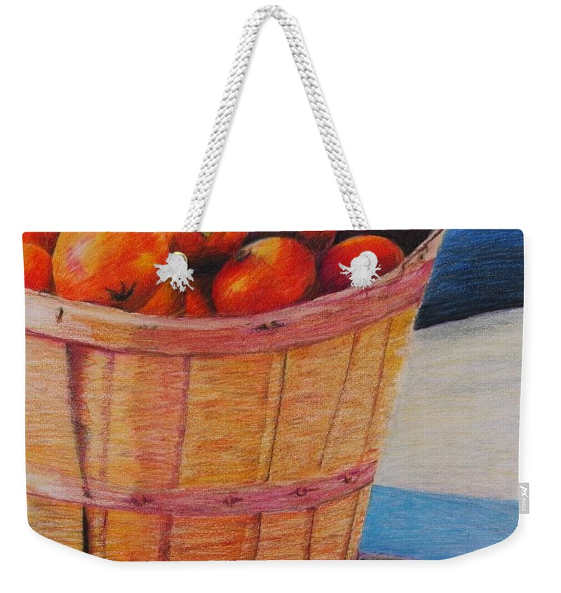 Produce In A Basket Weekender Tote Bag featuring the drawing Farmers Market Produce by Nadine Rippelmeyer