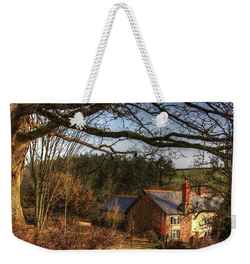 Farm Weekender Tote Bag featuring the photograph Farmhouse In The Valley by Rob Hawkins