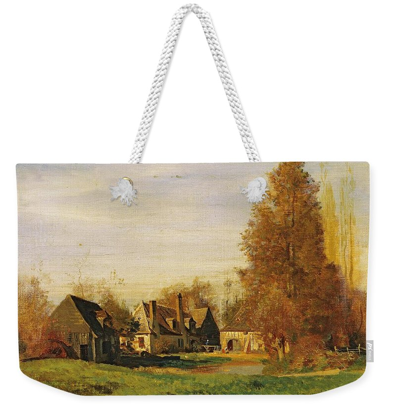 Farmyard Weekender Tote Bag featuring the painting Farmyard by Francois Louis Francais
