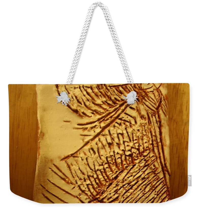 Jesus Weekender Tote Bag featuring the ceramic art Fashion - Tile by Gloria Ssali
